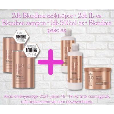 Blondme akciós csomag - 2 doboz Blondme szőkítőpor + 2 db 1L-es Blondme sampon + 1 db 500ml-es Blondme pakolás